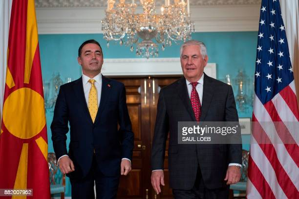 US Secretary of State Rex Tillerson and Macedonian Foreign Minister Nikola Dimitrov prior to meetings at the State Department in Washington DC...