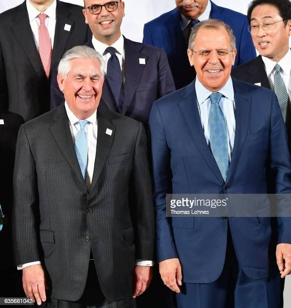 US Secretary of State Rex Tillerson and the Russian Foreign Minister Sergei Lavrov stand in the first row together during the family photo of the G20...