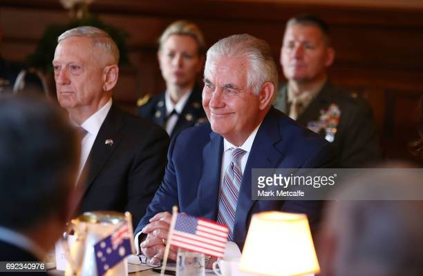 Secretary of State Rex Tillerson and US Secretary of Defence Jim Mattis participate in a meeting at Government House in Sydney for the 2017...