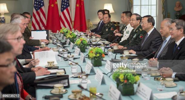 US Secretary of State Rex Tillerson and US Secretary of Defense Jim Mattis hosts Chinese State Councilor Yang Jiechi and Chief of the People's...