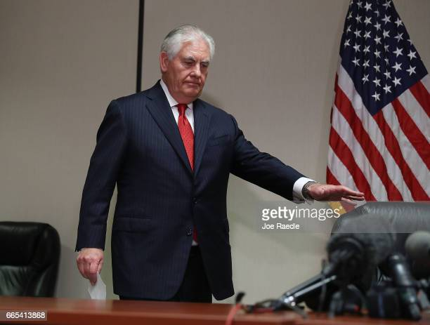 Secretary of State Rex Tillerson arrives a press conference after he greeted Chinese President Xi Jinping at Palm Beach International Airport on...