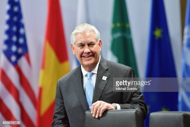 S Secretary of State Rex Tillerson arrives at the G20 foreign ministers' meeting on February 16 2017 in Bonn Germany The meeting is the first...