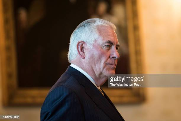 Secretary of State Rex Tillerson arrives before President Donald Trump speaks at a dinner with Indian Prime Minister Narendra Modi in the Blue Room...