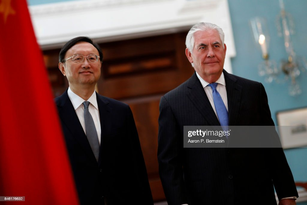 U.S. Secretary of State Rex Tillerson arrives for a photo opportunity with Chinese State Councilor Yang Jiechi at the State Department September 12, 2017 in Washington, DC. Tillerson and Jiechi are meeting amid heightened tensions surrounding North Korea's nuclear weapons program.