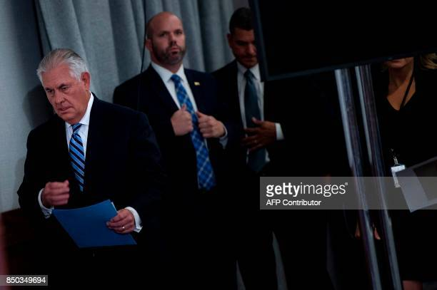 US Secretary of State Rex Tillerson arrives to speak to the press at the Hilton Midtown about an earlier P51 meeting on the Iran Nuclear deal at the...