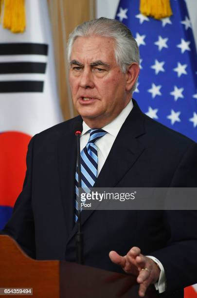 S Secretary of State Rex Tillerson attends the press conference on March 17 2017 in Seoul South Korea US Secretary of State Rex Tillerson will meet...