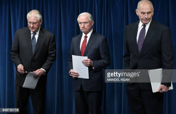 TOPSHOT US Secretary of State Rex Tillerson Attorney General Jeff Sessions and Homeland Security Secretary John Kelly arrive to deliver remarks on...