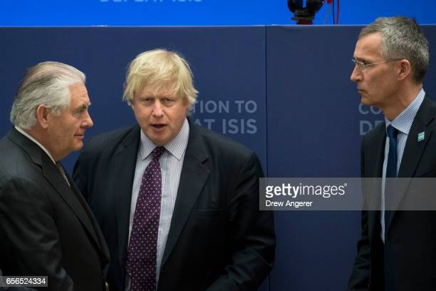 US Secretary of State Rex Tillerson British Foreign Secretary Boris Johnson and NATO Secretary General Jens Stoltenberg arrive for an afternoon...
