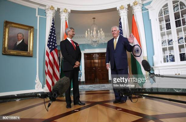 S Secretary of State Rex Tillerson declines to answer questions from member of the press while appearing with Indian Foreign Secretary Subrahmanyam...
