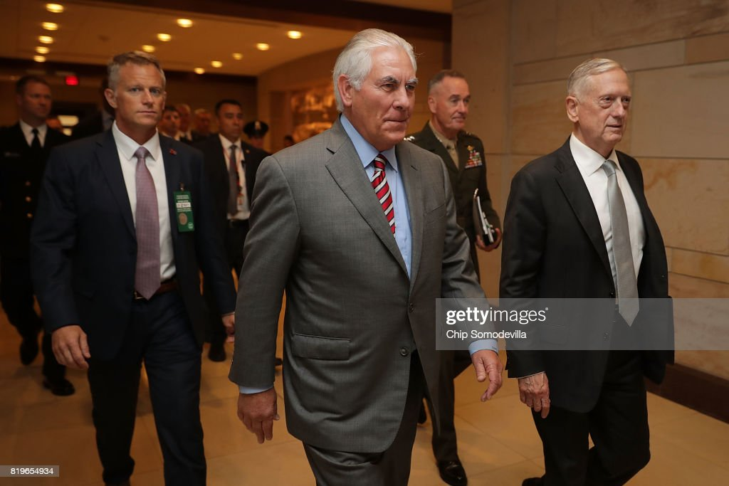 U.S. Secretary of State Rex Tillerson (C), Defense Secretary James Mattis (R) and Chairman of the Joint Chiefs of Staff Gen. Joseph Dunford (2nd R) arrive to brief members of the House of Representatives in the U.S. Capitol Visitors Center July 20, 2017 in Washington, DC. The Trump Administration cabinet members briefed members of Congress behind closed doors about the ongoing fight against the Islamic State in Syria.