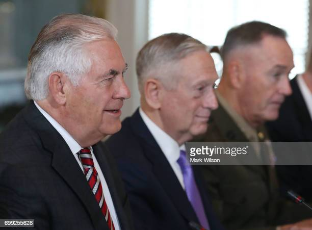 US Secretary of State Rex Tillerson Defense Secretary Jim Mattis and Joint Chief Chairman Joseph Dunford attend a security dialogue meeting with...