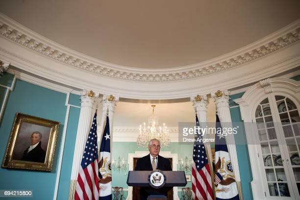 S Secretary of State Rex Tillerson delivers a statement regarding Qatar at the State Department June 9 2017 in Washington DC Tillerson called on...