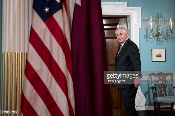 S Secretary of State Rex Tillerson exits a brief media availability before his meeting with Qatari Foreign Minister Sheikh Mohammed Bin Abdulrahman...