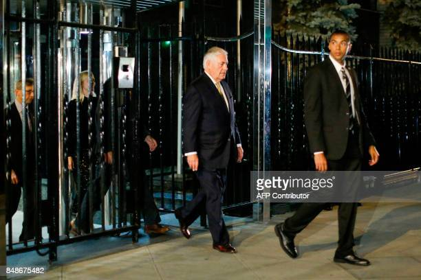 Secretary of State Rex Tillerson exits the Russian Permanent Mission to the UN following a meeting with Russian Foreign Minister Sergei Lavrov on...