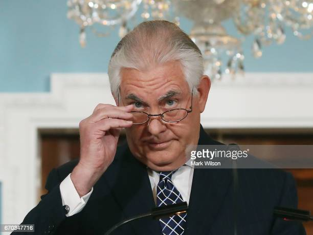 S Secretary of State Rex Tillerson finishes reading a statement about Iran and North Korea at the State Department on April 19 2017 in Washington DC