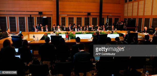 US Secretary of State Rex Tillerson gives an opening statement during the ASEANUS Ministerial meeting of the 50th Association of Southeast Asian...
