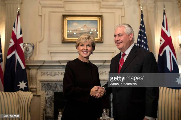 S Secretary of State Rex Tillerson greets Australian Foreign Minister Julie Bishop at the State Department February 22 2017 in Washington DC Bishop...