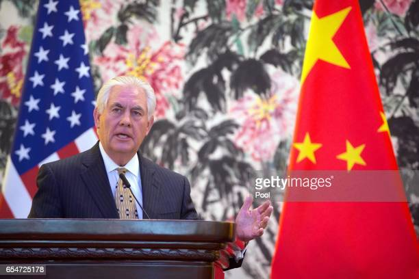S Secretary of State Rex Tillerson holds a joint press conference with Chinese Foreign Minister Wang Yi at Diaoyutai State Guesthouse on March 18...