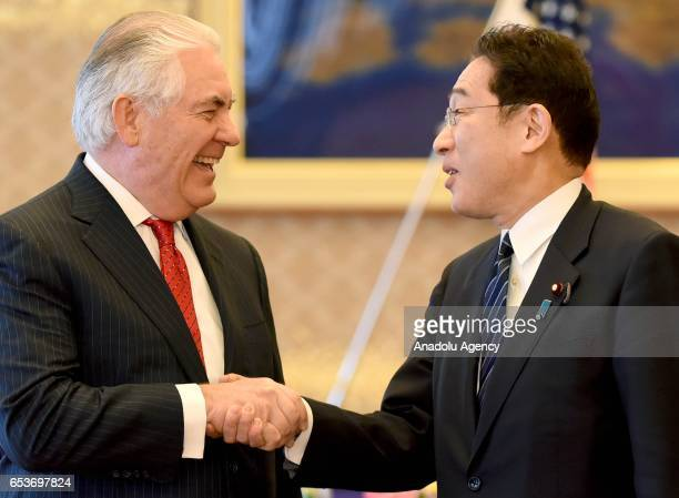 Secretary of State Rex Tillerson is welcomed by his Japanese counterpart Fumio Kishida ahead of their joint press conference at the Iikura Guesthouse...