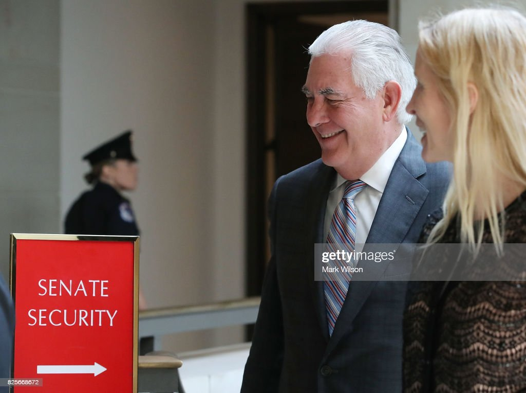 Secretary of State Rex Tillerson leaves a closed briefing at the U.S. Capitol with the Senate Foreign Relations Committee August 2, 2017 in Washington, DC. The committee was briefed on 'The Authorizations for the Use of Military Force: Administration Perspective.