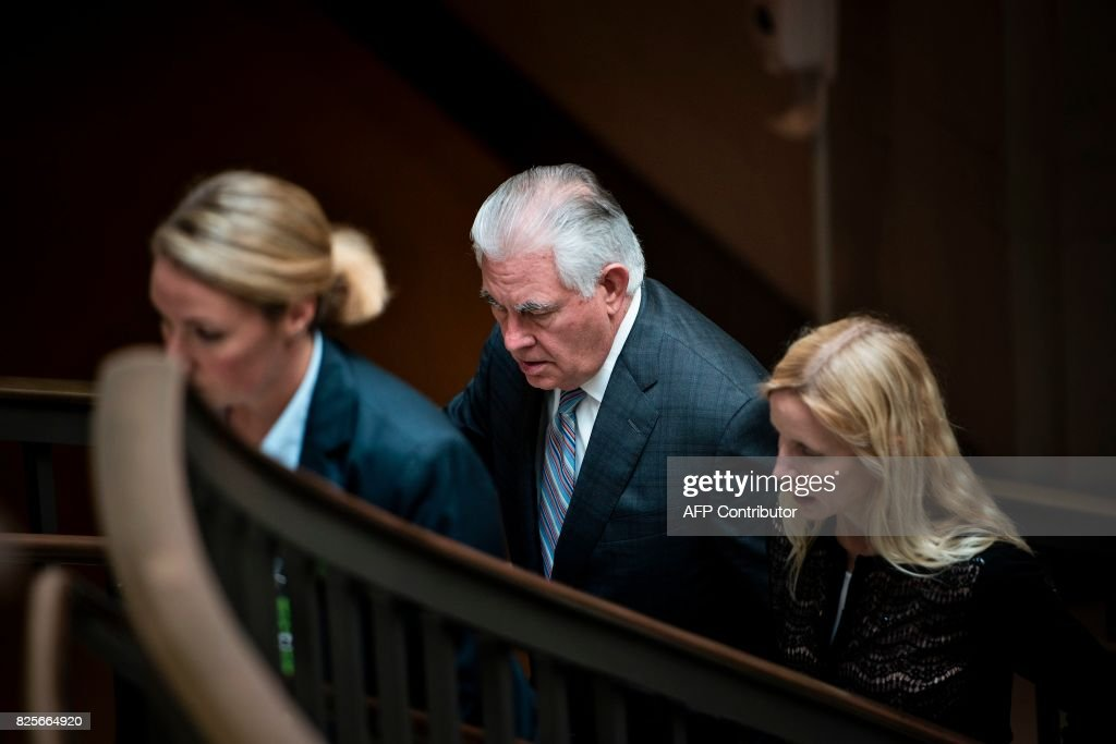 US Secretary of State Rex Tillerson leaves after attending a closed meeting of the Senate Foreign Relations Committee on Capitol Hill August 2, 2017 in Washington, DC. / AFP PHOTO / Brendan Smialowski