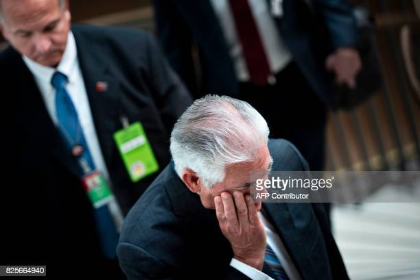 US Secretary of State Rex Tillerson leaves after attending a closed meeting of the Senate Foreign Relations Committee on Capitol Hill August 2 2017...