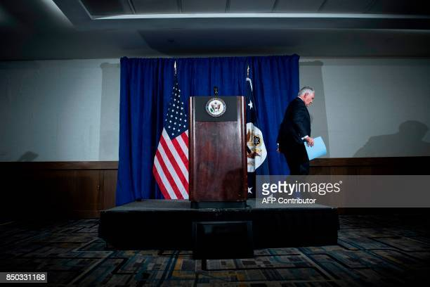 US Secretary of State Rex Tillerson leaves after speaking to the press at the Hilton Midtown about an earlier P51 meeting on the Iran Nuclear deal at...