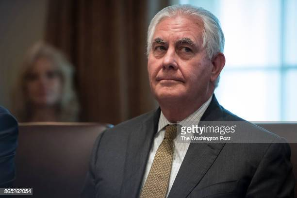 Secretary of State Rex Tillerson listens during a cabinet meeting in the Cabinet Room of the White House in Washington DC on Monday Oct 16 2017
