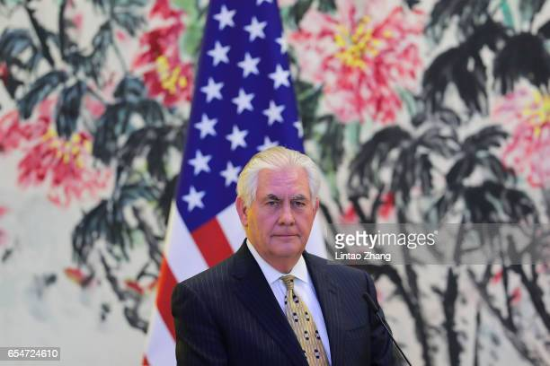 S Secretary of State Rex Tillerson looks on during a joint press conference with Chinese Foreign Minister Wang Yi at Diaoyutai State Guesthouse on...