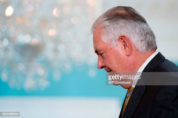 US Secretary of State Rex Tillerson looks on during a meeting with Portuguese Foreign Minister Augusto Santos Silva at the State Department in...