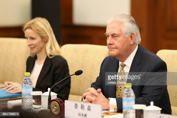 S Secretary of State Rex Tillerson meeting with Chinese Foreign Minister Wang Yi at Diaoyutai State Guesthouse on March 18 2017 in Beijing China...