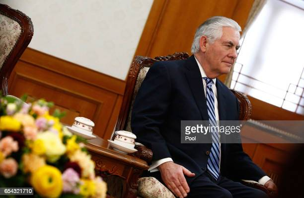 S Secretary of State Rex Tillerson meets South Korean President and Prime Minister Hwang Kyoahn at the government complex on March 17 2017 in Seoul...