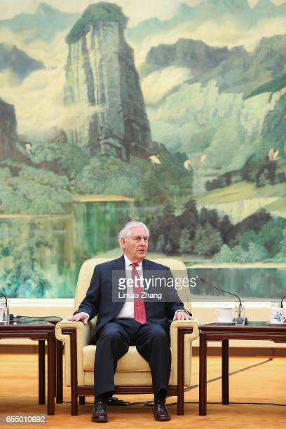 S Secretary of State Rex Tillerson meets with Chinese President Xi Jinping at the Great Hall of the People on March 19 2017 in Beijing China...