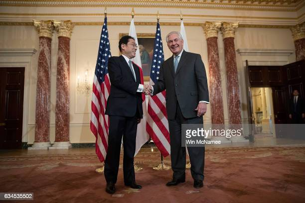 S Secretary of State Rex Tillerson meets with Japanese Foreign Minister Fumio Kishida at the US State Department February 10 2017 in Washington DC...