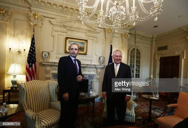 S Secretary of State Rex Tillerson meets with Jordanian Foreign Minister Ayman Al Safadi at the State Department February 3 2017 in Washington DC...