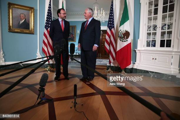 S Secretary of State Rex Tillerson meets with Mexican Foreign Secretary Luis Videgaray Caso at the State Department August 30 2017 in Washington DC...