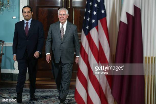 S Secretary of State Rex Tillerson participates in a photo opportunity with Qatari Foreign Minister Sheikh Mohammed bin Abdulrahman Al Thani at the...