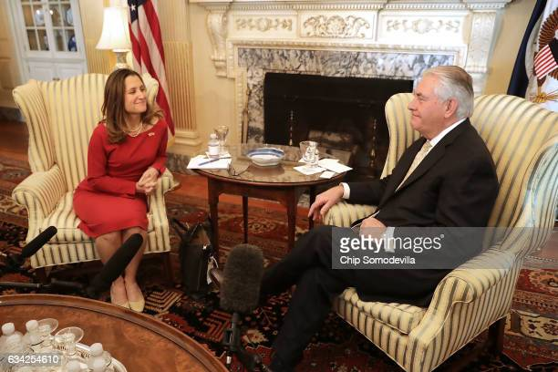 S Secretary of State Rex Tillerson pose for photographs with Canadian Minister of Foreign Affairs Chrystia Freeland before meeting at the State...