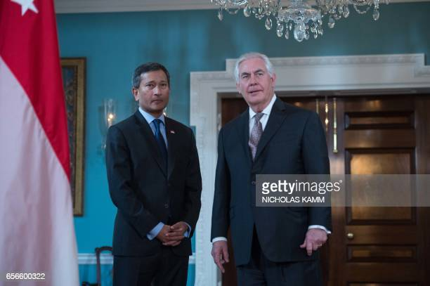 US Secretary of State Rex Tillerson respponds to a question about the attackin London with Singapore's Foreign Minister Vivian Balakrishnan at the...