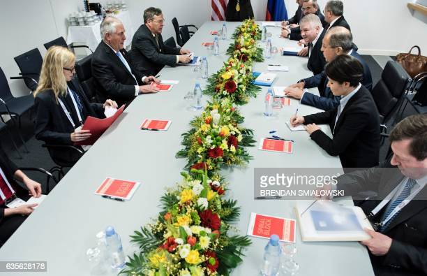 US Secretary of State Rex Tillerson Russia's Foreign Minister Sergei Lavrov and others wait for the start of a meeting at the World Conference Center...