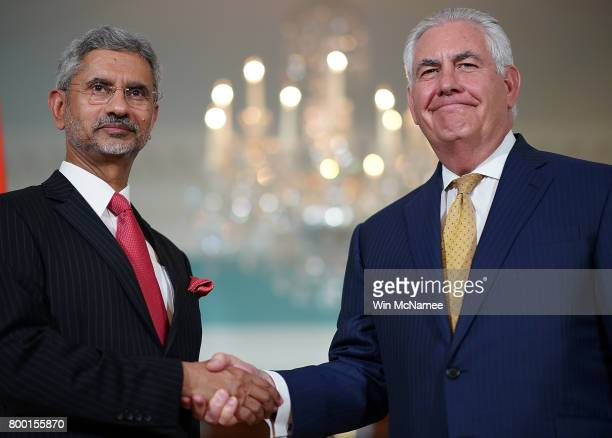 S Secretary of State Rex Tillerson shakes hands with Indian Foreign Secretary Subrahmanyam Jaishankar prior to their meeting at the State Department...