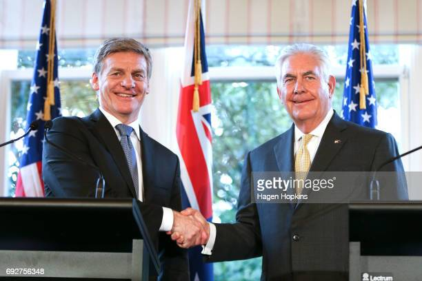 Secretary of State Rex Tillerson shakes hands with Prime Minister Bill English during a press conference at Premier House on June 6 2017 in...