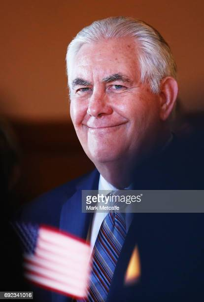 Secretary of State Rex Tillerson smiles as he participates in a meeting at Government House in Sydney for the 2017 AustraliaUnited States Ministerial...