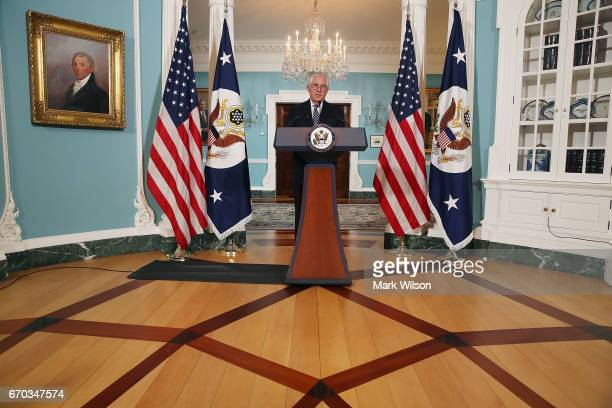 S Secretary of State Rex Tillerson speaks about Iran and North Korea at the State Department on April 19 2017 in Washington DC
