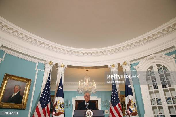 S Secretary of State Rex Tillerson speaks about Iran and North Korea after reading a statement at the State Department on April 19 2017 in Washington...