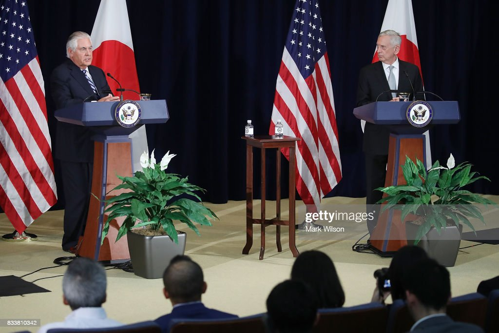 Secretary of State Rex Tillerson (L), speaks about North Korea while flanked by Defense Secretary Jim Mattis, after a meeting of the U.S.-Japan Security Consultative Committee at the State Department, on August 17, 2017 in Washington, DC.