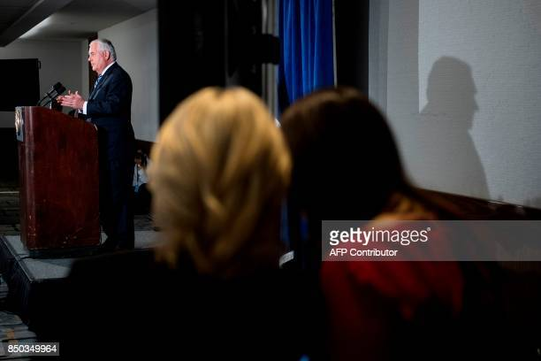 US Secretary of State Rex Tillerson speaks as his spokesperson Heather Nauert and White House Press Secretary Sarah H Sanders talk to each other at...