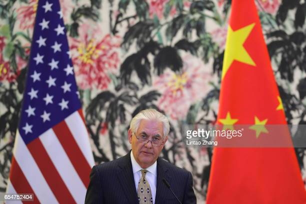 S Secretary of State Rex Tillerson speaks during a joint press conference with Chinese Foreign Minister Wang Yi at Diaoyutai State Guesthouse on...