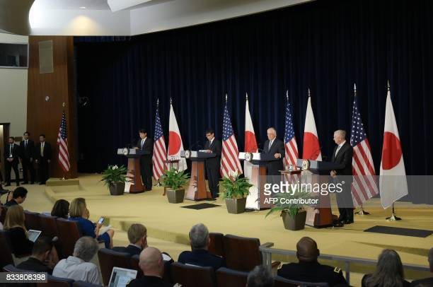 US Secretary of State Rex Tillerson speaks during a joint press conference with Japan's Defense Minister Itsunori Onodera Japan's Foreign Minister...