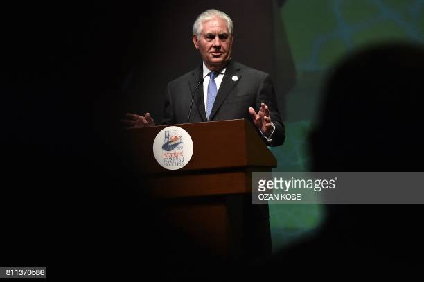 US Secretary of State Rex Tillerson speaks during the 22nd World Petroleum Congress opening ceremony on July 9 2017 in Istanbul US Secretary of State...